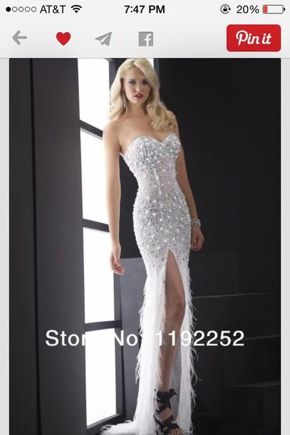 white dress, sparkly dress, mermaid prom dress, cute dress ...