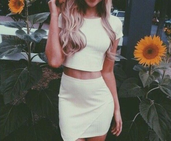 blouse simple outfit two-piece hetp crop tops matching shirts