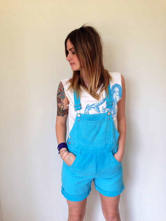 Vintage 80s Turquoise Blue Overalls Shorts M By