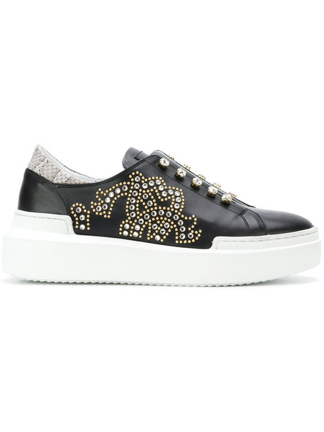 Roberto Cavalli women embellished sneakers leather black shoes