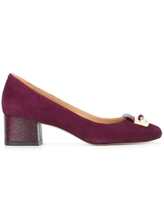 women pumps leather suede purple pink shoes