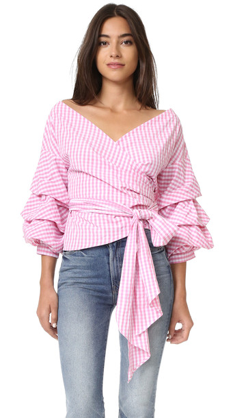 One By Stylekeepers Modern Vintage Top - Checked Pink