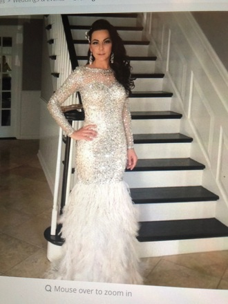 dress feathers rhinestones sequins silver gown long sleeves floor length evening dress
