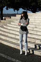holy nights,blogger,shoes,jeans,fall outfits,blazer,grey blazer,crossbody bag,white boots,ankle boots