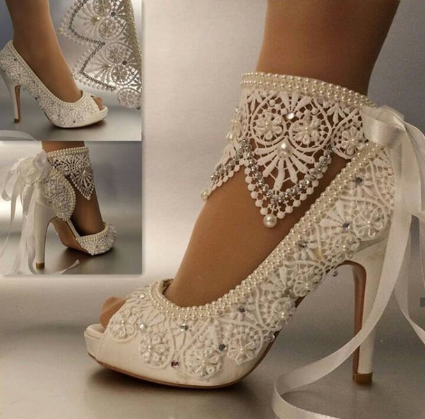Shoes: white, lace, heels, wedding shoes, wedding, bling ...