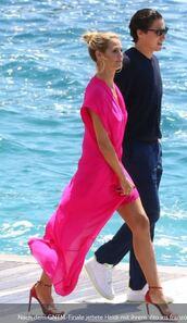 dress,heidi klum,pink,pink dress