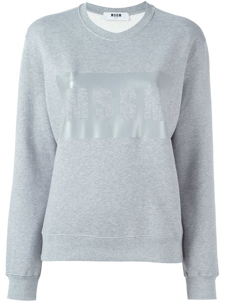 sweatshirt women cotton print grey sweater