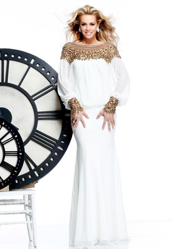 dress white dress prom dress party dress long sleeve dress chiffon beading