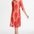 Red Long Sleeve Embroidered Backless Lace Dress - Sheinside.com