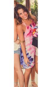 dress,tie dye,colorful,pink,blue,pareo,special binding,beach dress