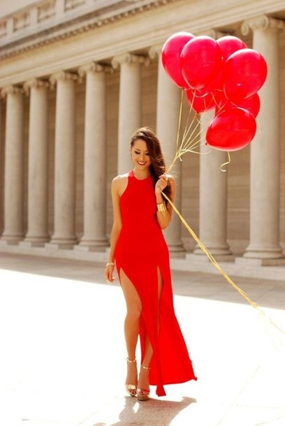 Dress: red, clothes, red dress, shoes, gold heels, gold, heels ...
