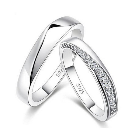 High Quality Cubic Zirconia Silver Matching Rings Custom Engraving - Engravable Couples Rings - Engravable Jewelry for 2 Personalized Couples Gifts | His Her Necklaces and Bracelets | Engraved Wedding/Engagement/Promise Rings Sets | Matching Clothing
