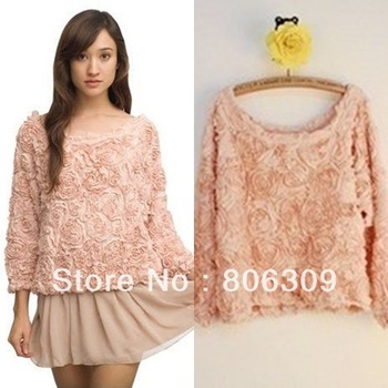 New Design Women 3D Rose Flower Pullover Tops Chiffon Blouse Shirts 7719-in Blouses & Shirts from Apparel & Accessories on Aliexpress.com