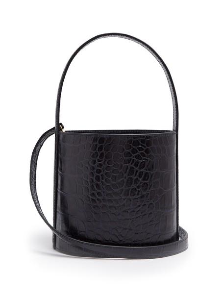 Staud bag bucket bag leather crocodile navy