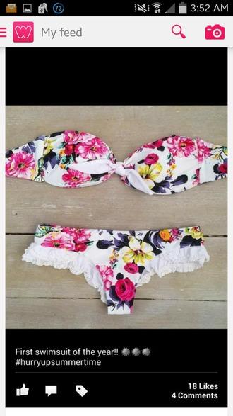 swimwear strapless bikini top bikini bottoms floral swimwear swimwear colorful