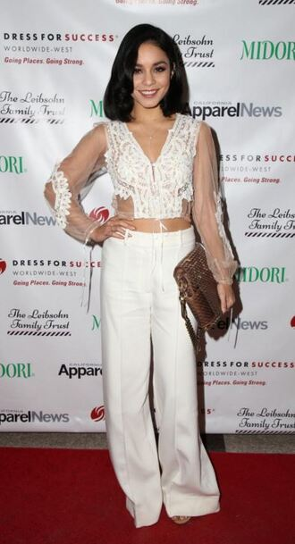 top lace top vanessa hudgens all white everything crop tops pants wide-leg pants