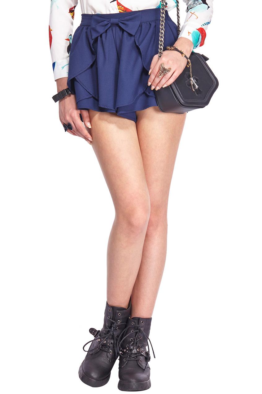 ROMWE | ROMWE Asymmetric Bowknot Layered Flouncing Navy Shorts, The Latest Street Fashion