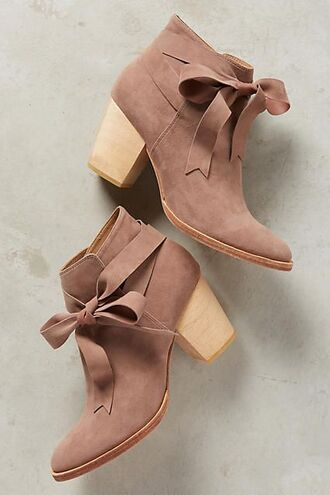 shoes boots bows booties brown velvet