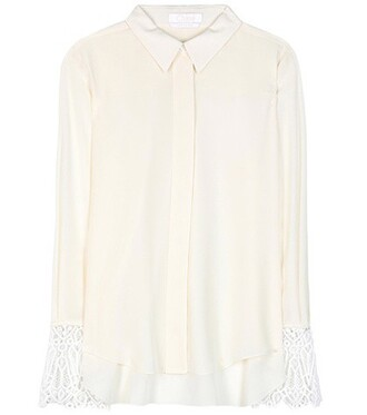 blouse lace silk white top