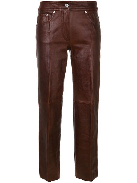 Helmut Lang women leather cotton brown pants