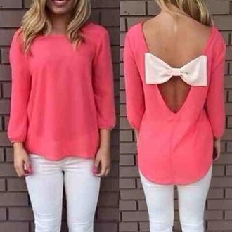 top pink bow trendy fashion long sleeves cute coral kawaii rose wholesale-feb