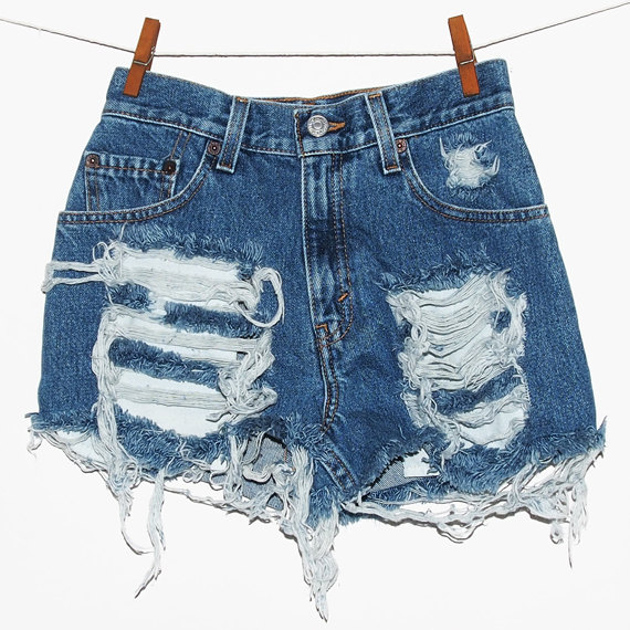 Levi's 550 distressed denim high waisted womens cut by TheSiblings
