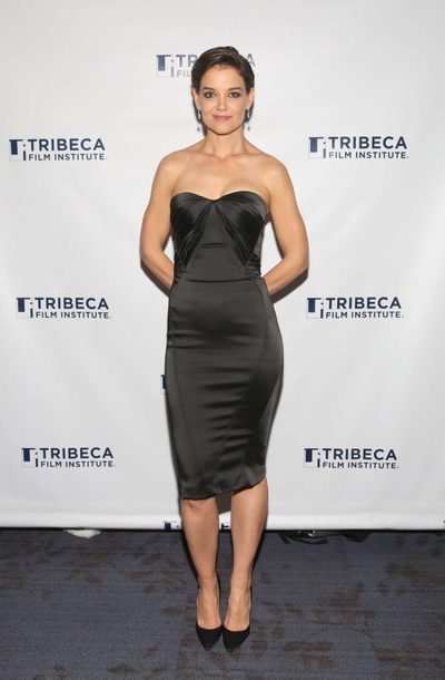 dress midi dress bodycon dress little black dress strapless katie holmes