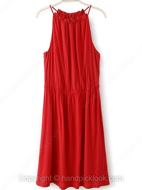 Red Scoop Sleeveless Chiffon Dress - HandpickLook.com