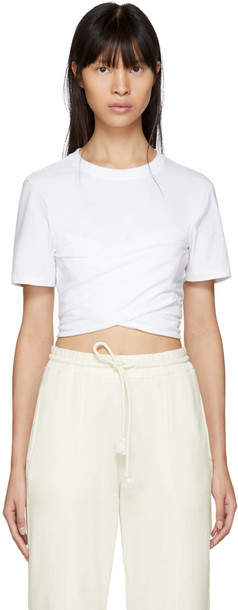 T by Alexander Wang t-shirt shirt cropped t-shirt t-shirt cropped high draped white top