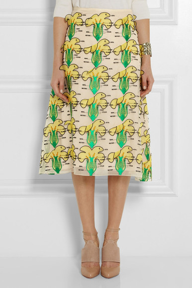 yellow skirt christopher kane floral-appliquéd organza midi skirt midi skirt