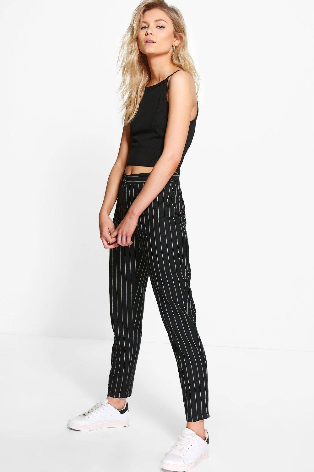 9a4ee66c28bc Petite Kate Stripe Tapered Trouser | Boohoo