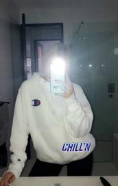 sweater,hoodie,white,champion hoodie