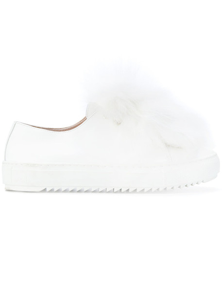 fur fox women embellished sneakers leather white shoes