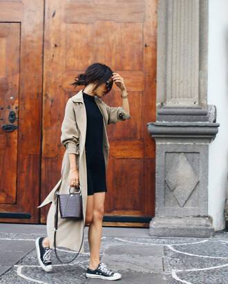coat black bag tumblr nude coat long coat dress mini dress black dress sneakers black sneakers black converse converse low top sneakers bag streetstyle fall outfits back to school duster coat beige coat mini bag black leather bag cute outfits college
