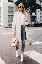 fashionjackson,blogger,coat,t-shirt,jeans,shoes,bag,sunglasses,fall outfits,handbag,ankle boots