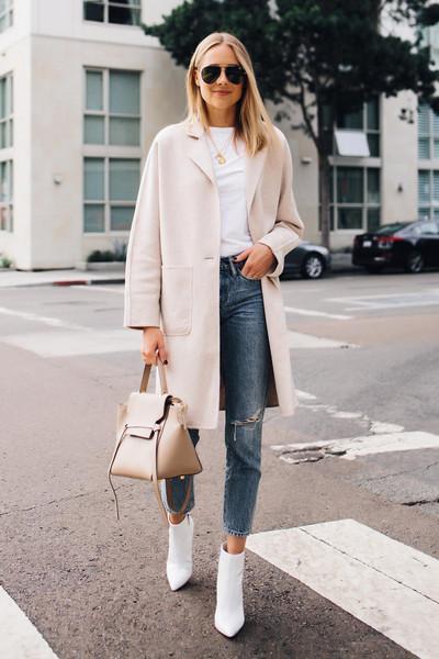fashionjackson blogger coat t-shirt jeans shoes bag sunglasses fall outfits handbag ankle boots