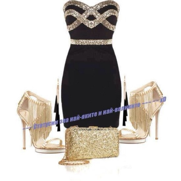 shoes dress black & gold