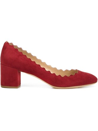 women pumps leather suede red shoes