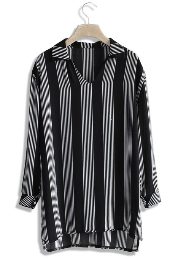 top chicwish breezy stripes v neck blouse