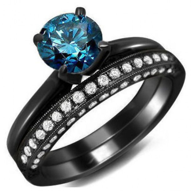 Jewels Evolees Evolees Com Blue Round Diamond Engagement Ring And