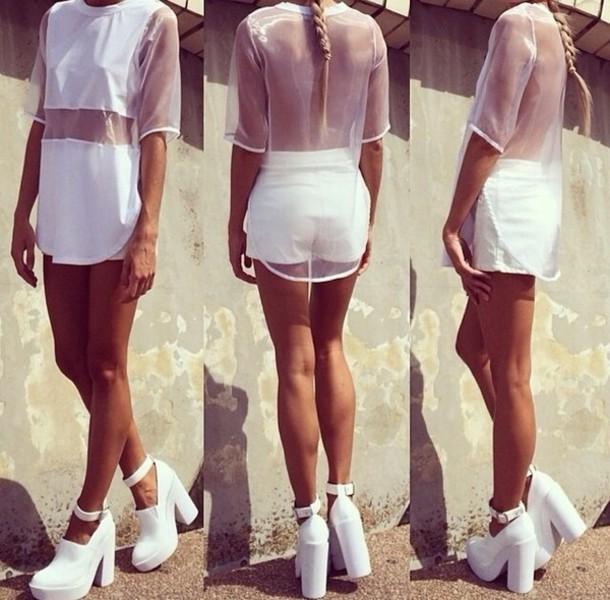 055081a4364858 shirt white white shirt white top mesh mesh top sheer see through see  through top white