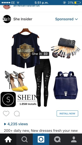 tank top blue harley davidson makeup brushes make-up black ripped jeans ripped jeans navy bag handbag yellow shoes top outfit butterfly