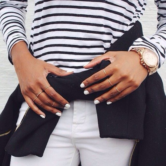 black and white stripes striped shirt top jeans t-shirt white jeans ring jacket stripey