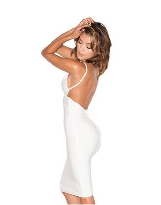 dress white white dress midi dress spaghetti strap plunge v neck backless graduation dress