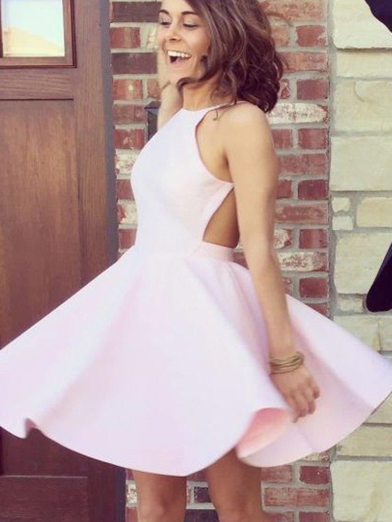 Custom Made A Line Pink Backless Short Prom Dresses, Pink Backless Homecoming Dresses, Pink Backless Formal Dresses