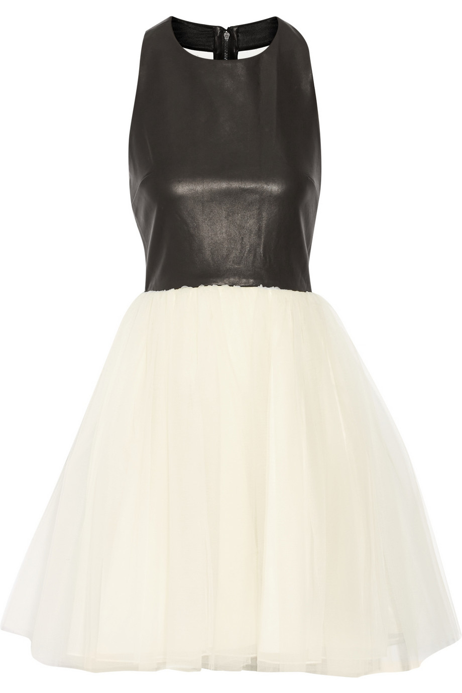 Alice   Olivia Gennifer leather and tulle dress – 50% at THE OUTNET.COM