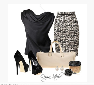 shirt top blouse black shirt sleeveless silky top satin top silky black black satin draped neck skirt pencil skirt pattern patterned skirt textile skirt bag purse clutch ivory purse earrings pearl earrings ring bracelets heels high heels platform shoes pumps platform pumps black heels clothes outfit