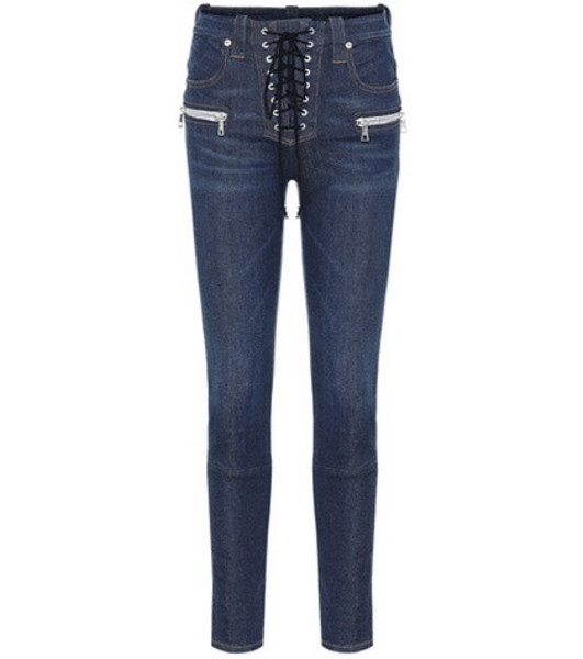 Unravel Lace-up skinny jeans in blue