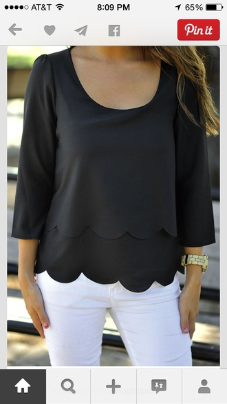 blouse ruffle scalloped