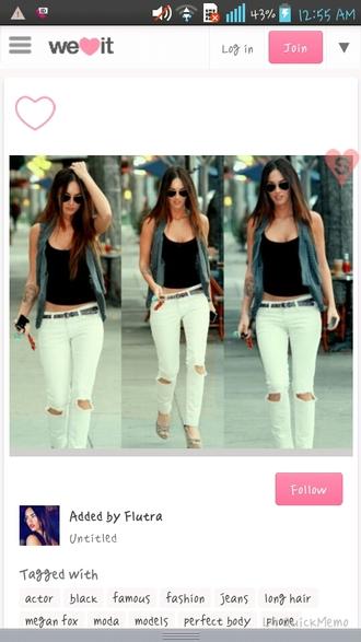 jeans white pants outfit megan fox cardigan